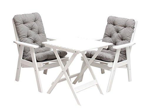 ambientehome 90495 balkonset verstellbarer hochlehner stuhl varberg inkl graue kissen und. Black Bedroom Furniture Sets. Home Design Ideas