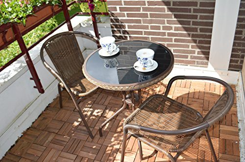 balkon bistro set rattan in aluminium rostfrei tisch 2 st hle online kaufen bei woonio. Black Bedroom Furniture Sets. Home Design Ideas