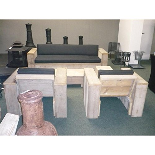 bauholz m bel gartenm bel garnitur lounge set 1x tisch 2x stuhl sessel 1x bank rostfarbene. Black Bedroom Furniture Sets. Home Design Ideas