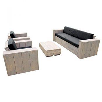 Bauholz-Mbel-Gartenmbel-Garnitur-Lounge-Set-1x-Tisch-2x-StuhlSessel-1x-Bank-rostfarbene-Patina-0