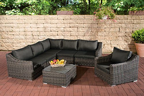clp poly rattan gartenm bel lounge set del mar bis zu 5 bezug farben w hlbar 5 mm rund rattan. Black Bedroom Furniture Sets. Home Design Ideas