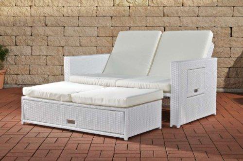 CLP flexibles Poly-Rattan 2er Lounge-Sofa ANCONA, ALU-Gestell ...