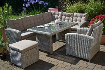 Ecklounge Manhattan (Ecksofa U201elinksu201c + Tisch + Sessel + Hocker) Großes  Rattan Gartensofa Lounge Polyrattan Sand Grau Natur Für 6 8 Personen