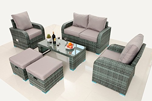 gartenm bel polyrattan gartenganitur rattan sitzgruppe outdoor lounge set mit liegefunktion. Black Bedroom Furniture Sets. Home Design Ideas