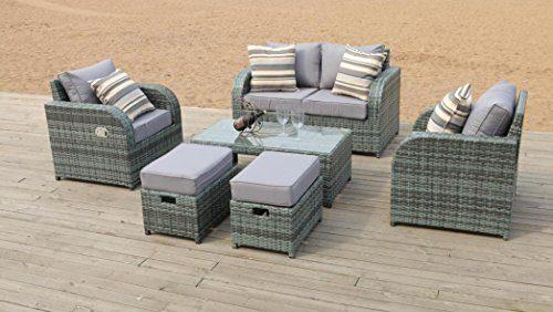 Gartenmobel Polyrattan Gartenganitur Rattan Sitzgruppe Outdoor Lounge Set Mit Liegefunktion 6tlg Grau