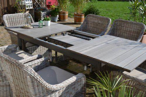 Gartenmbel Set Como 6 Tisch Ausziehbar Holzdekor Mit