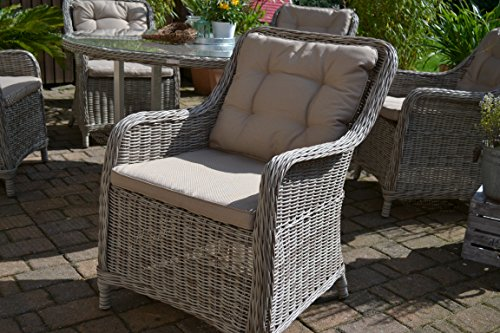gartenm bel set como xl 8 tisch ausziehbar 205 260 holzdekor mit 8 sessel rattan polyrattan. Black Bedroom Furniture Sets. Home Design Ideas