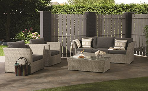 luxus xxl poly rattan lounge tunis inkl wasserabweisender kissen aus dem hause garden. Black Bedroom Furniture Sets. Home Design Ideas