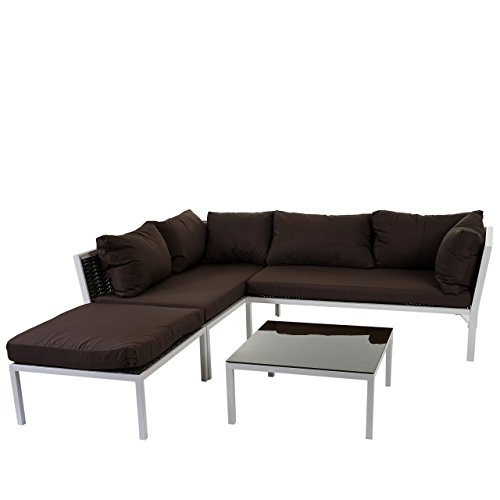 poly rattan sofa garnitur delphi sitzgruppe lounge set alu set 2 kissen braun online kaufen. Black Bedroom Furniture Sets. Home Design Ideas