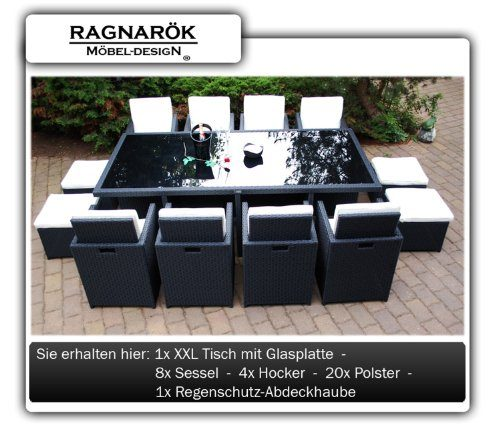 polyrattan essgruppe deutsche marke eignene produktion tisch 8x stuhl 4x hocker 7 jahre. Black Bedroom Furniture Sets. Home Design Ideas