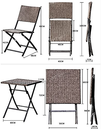 terrasse balkonm bel faltbare bistro m bel sets holz harz und rattan gartentisch set 3 teilig. Black Bedroom Furniture Sets. Home Design Ideas