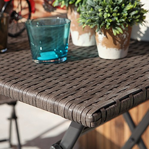 terrasse balkonm bel faltbare bistro m bel sets holz harz und rattan gartentisch set 3 teilig. Black Bedroom Furniture Sets. Home Design Ideas