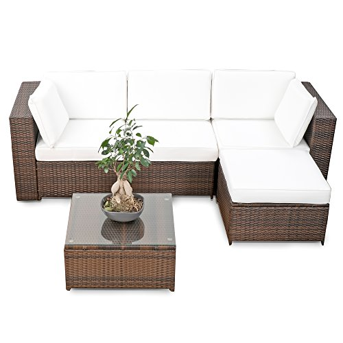 erweiterbares 15tlg balkon polyrattan lounge ecke braun. Black Bedroom Furniture Sets. Home Design Ideas