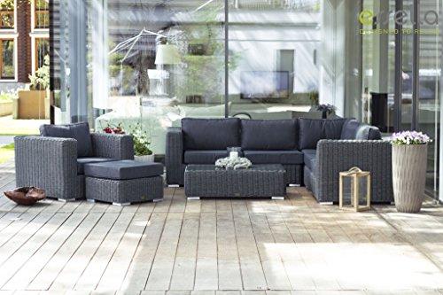 essella polyrattan eck garnitur alabama in grau meliert online kaufen bei woonio. Black Bedroom Furniture Sets. Home Design Ideas
