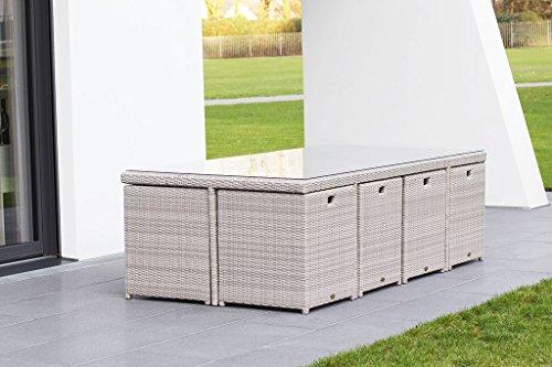 essella polyrattan essgruppe vienna 8er in vintage weiss. Black Bedroom Furniture Sets. Home Design Ideas