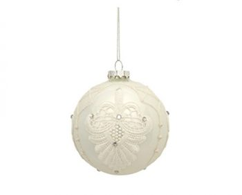 4-Shiny-White-Blooming-Fleur-de-Lis-Lace-Decal-Glass-Ball-Christmas-Ornament-0