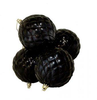 DAK-4-Count-Shiny-Jet-Black-Diamond-Design-Shatterproof-Christmas-Ball-Ornaments-375-0