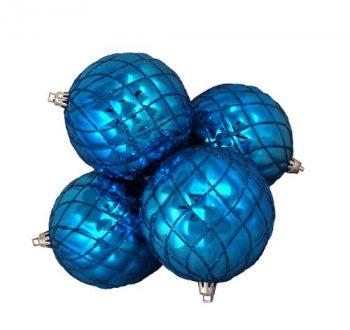 DAK-4-Count-Shiny-Lavish-Blue-Diamond-Design-Shatterproof-Christmas-Ball-Ornaments-375-0