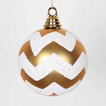 Gold-Matte-and-White-Glitter-Chevron-Shatterproof-Christmas-Ball-Ornament-475-120mm-0