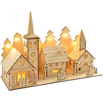 WeRChristmas-35-cm-Pre-Lit-Wooden-Church-and-Village-Scene-Christmas-Decoration-Illuminated-with-12-Warm-White-LED-Lights-0