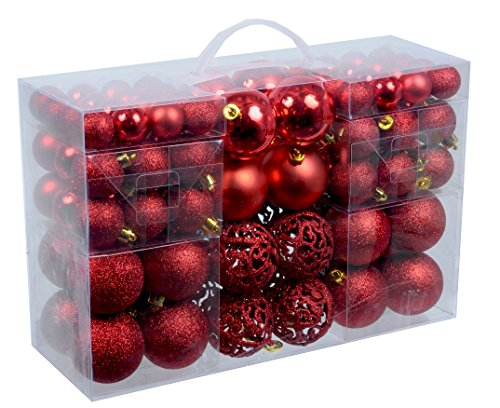 100 weihnachtskugeln rot gl nzend glitzernd matt christbaumschmuck bis 6 cm baumschmuck. Black Bedroom Furniture Sets. Home Design Ideas