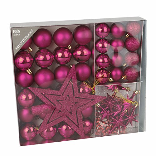 45tlg christbaumkugeln set 4 5cm pink weihnachtskugeln for Pinke weihnachtskugeln