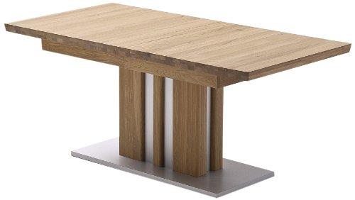 Ausziehbarer-Sulentisch-Bolzano-Tischplatte-und-Gestell-massiv-matt-lackiert-Absetzung-Gestell-und-Bodenplatte-Edelstahloptik-0