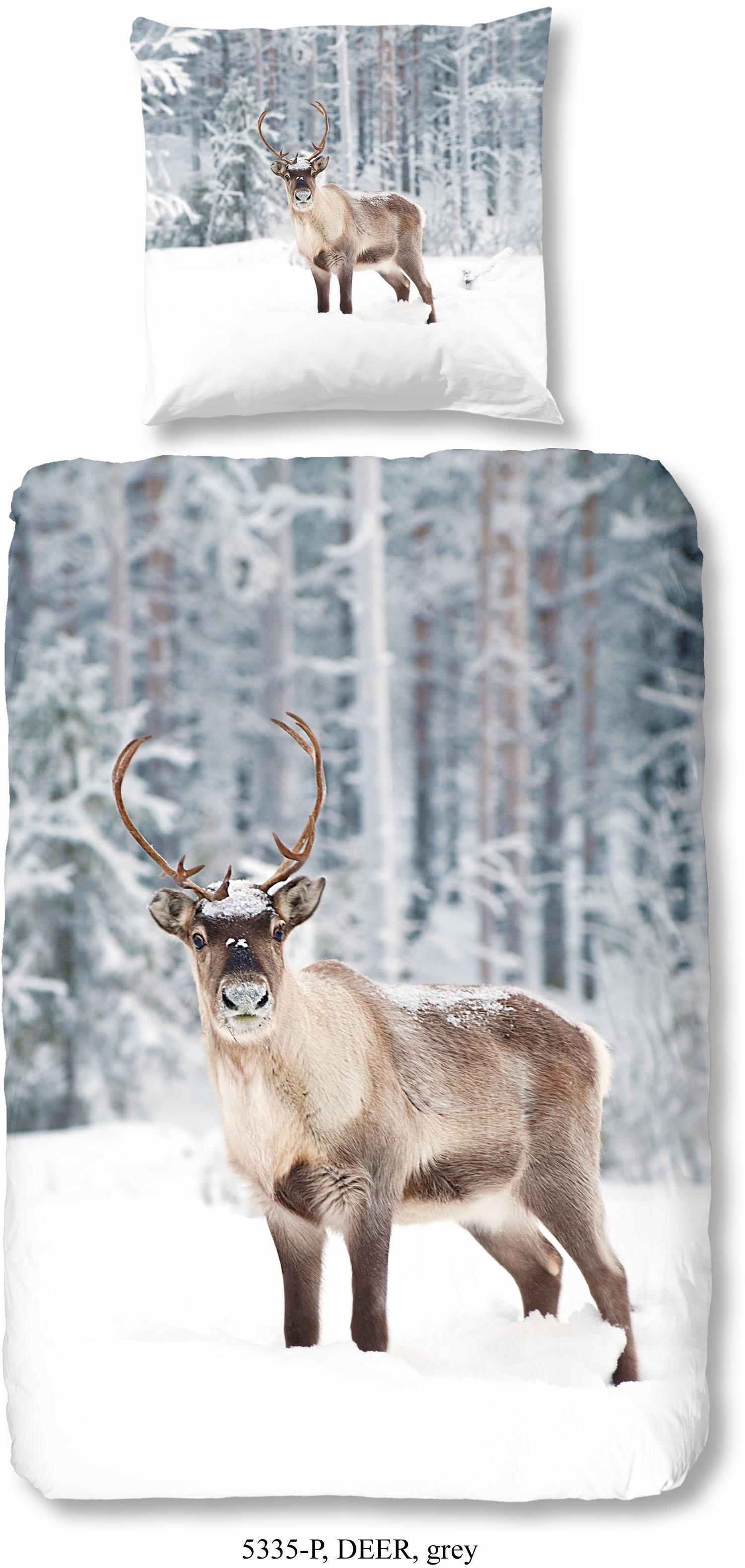 Bettwäsche Good Morning Deer Mit Hirschmotiv Grau Online Kaufen