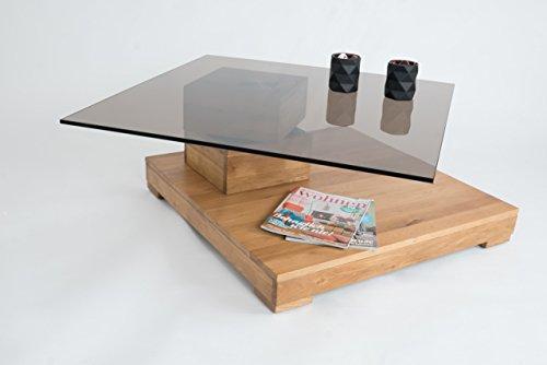 Couchtisch-Wohnzimmertisch-Tisch-Sofatisch-Tischplatte-drehbar-Wildeiche-Massiv-Sicherheitsglas-Rollen-0