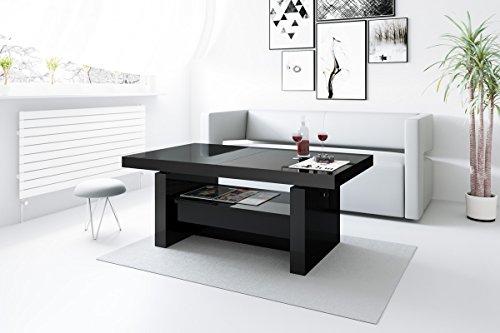 Design Couchtisch H 111 Schwarz Hochglanz Schublade Höhenverstellbar