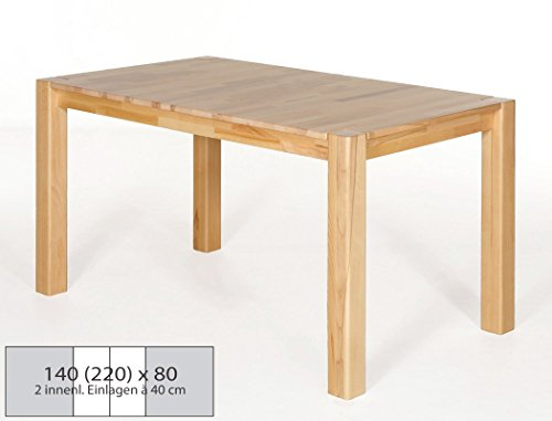 Esstisch-Holztisch-Georg-2XL-140220x80x75cm-Kernbuche-lackiert-Mittelauszug-Massivholztisch-0
