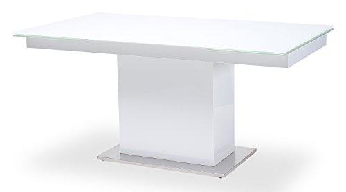 Esstisch-Sever-V-Tisch-Esszimmertisch-Sulentisch-Glastisch-Ausziehtisch-160-240x90cm-Wei-0