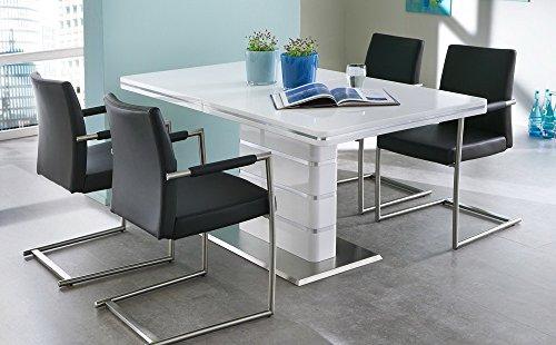 esstisch s ulentisch k chentisch esszimmertisch tisch wei hochglanz ausziehtisch. Black Bedroom Furniture Sets. Home Design Ideas