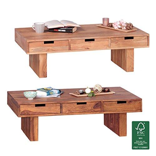 Finebuy Couchtisch Massivholz Akazie Design Wohnzimmer Tisch 110 X