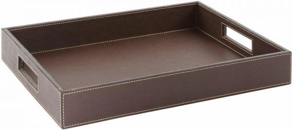 Fink Tablett »MARETTI« aus Leder braun (L/B/H): 46/31/6 cm