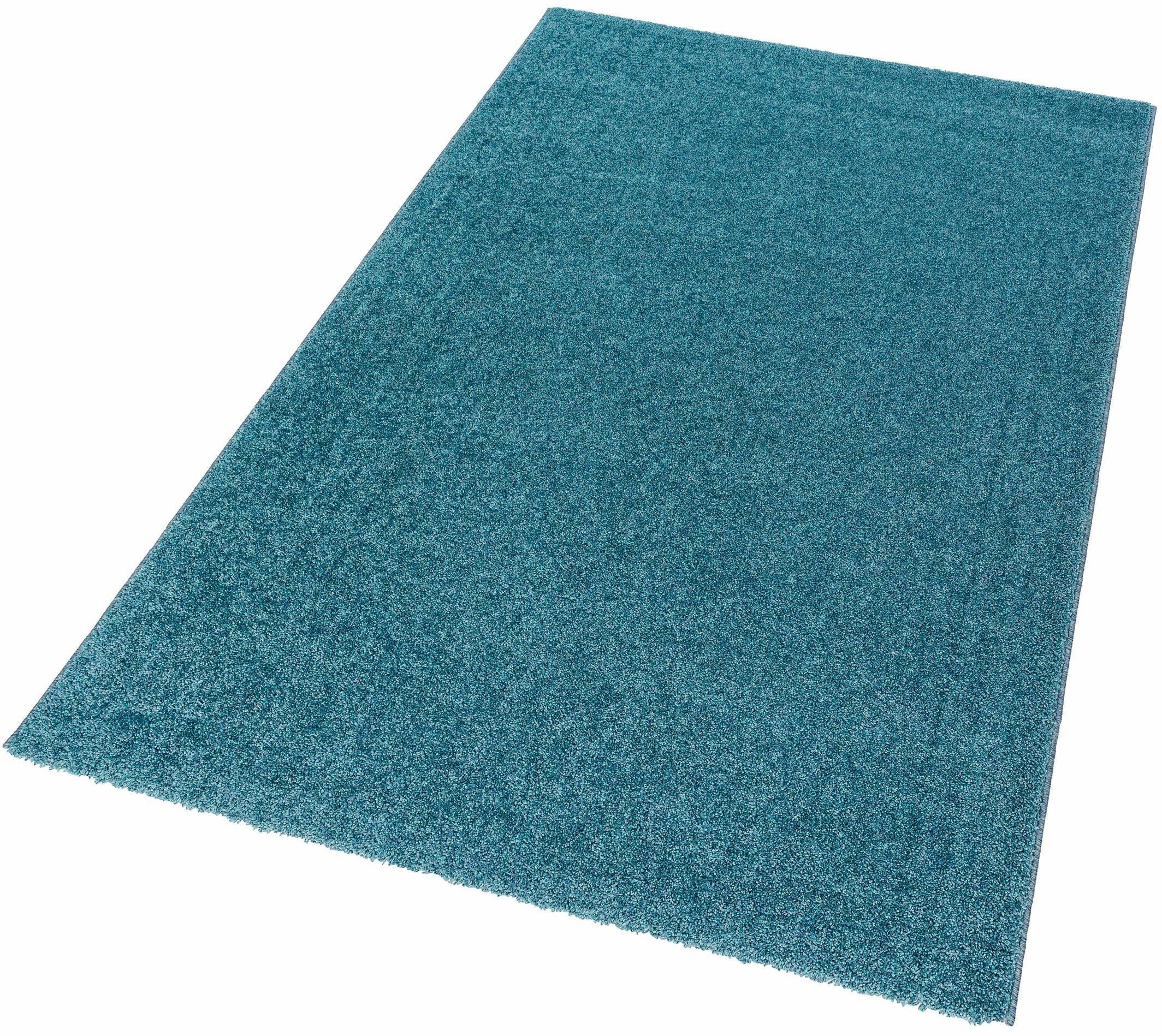 hochflor teppich riva astra rechteckig h he 25 mm blau online kaufen bei woonio. Black Bedroom Furniture Sets. Home Design Ideas