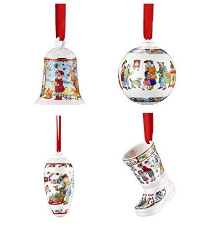 Hutschenreuther-Porzellan-Weihnachts-Glocke-2016-Weihnachts-Kugel-2016-Weihnachts-Stiefel-2016-und-Weihnachts-Zapfen-2016-in-den-Originalverpackungen-4er-Set-0