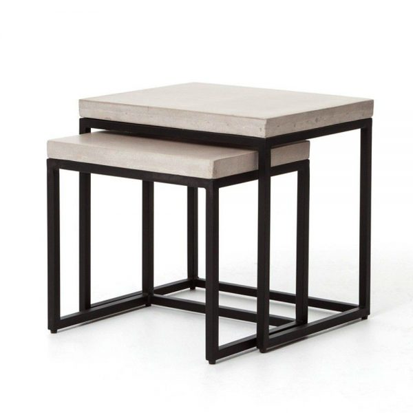 Kasper-Wohndesign Beistelltischsatz Eisen/Beton »AlABAMA« schwarz