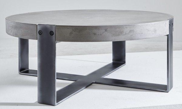 Kasper-Wohndesign Couchtisch Beton / Rohstahl rund schwarz »CORA« schwarz