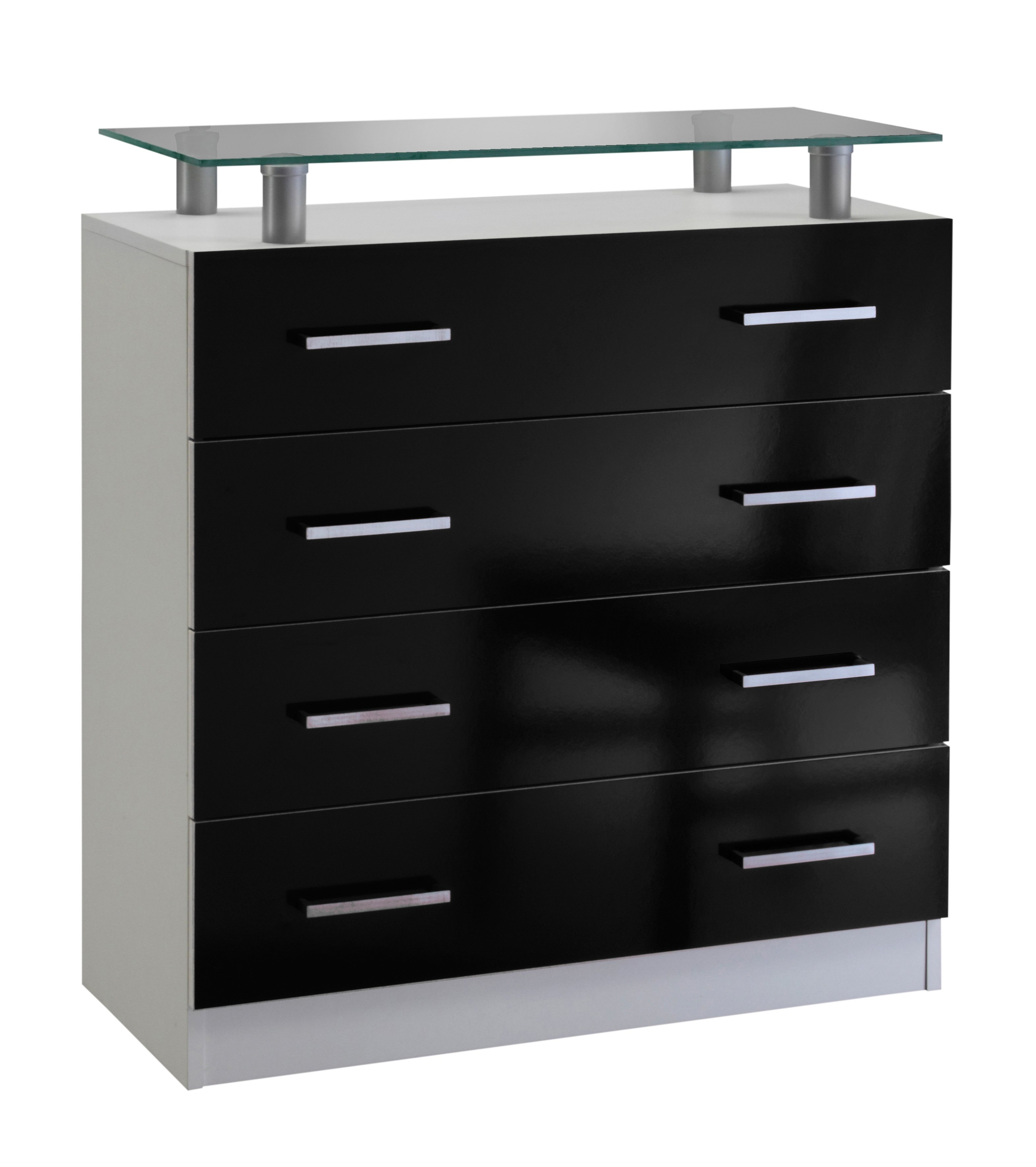 kommode vaasa breite 76 cm mit glasablage schwarz. Black Bedroom Furniture Sets. Home Design Ideas