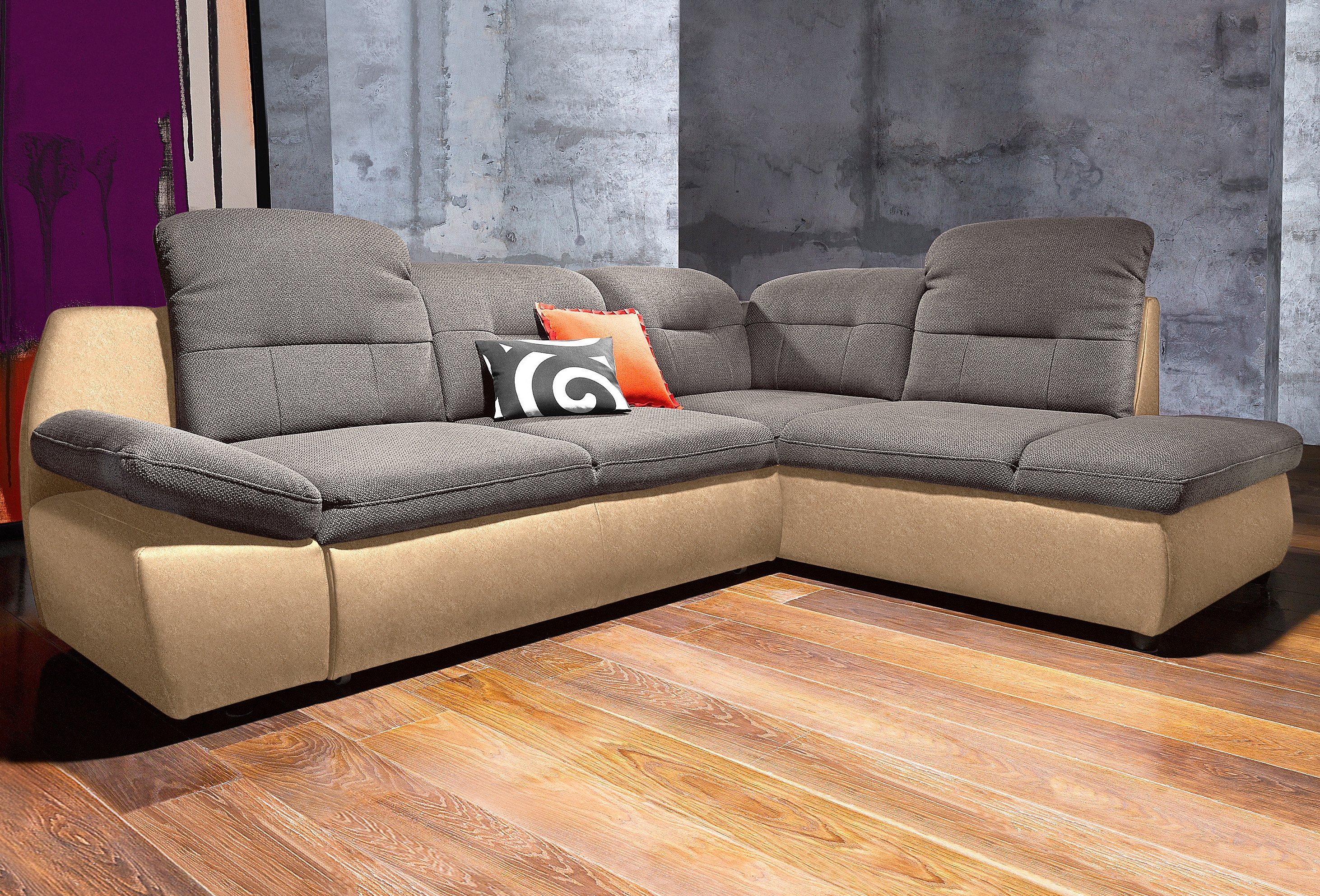 Polsterecke city sofa wahlweise mit bettfunktion natur for Couch mit bettfunktion und bettkasten