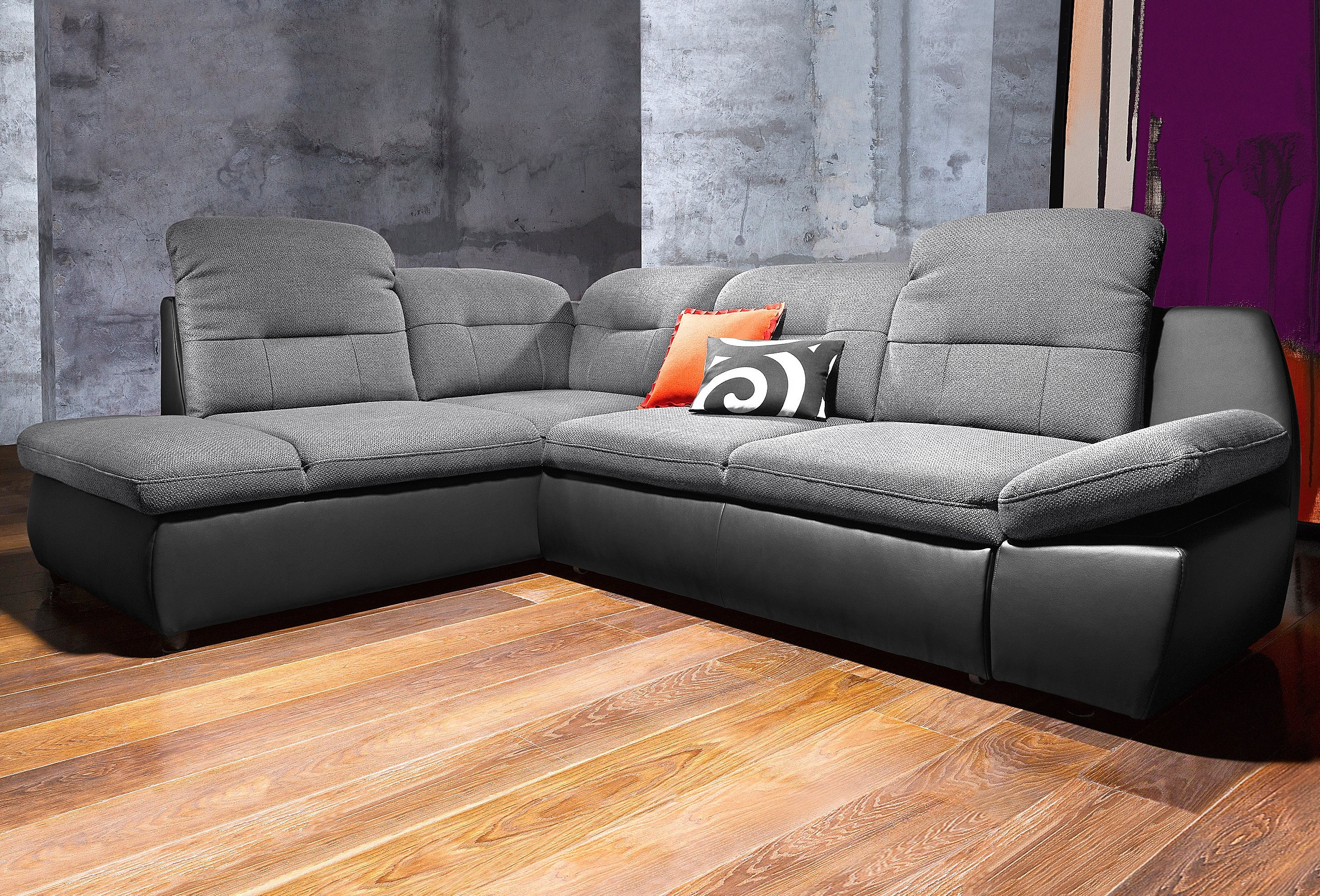 Polsterecke city sofa wahlweise mit bettfunktion schwarz for Couch mit bettfunktion und bettkasten