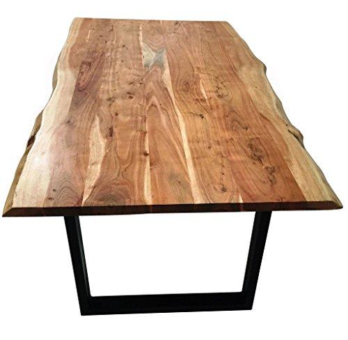 sam stilvoller esszimmertisch imker aus akazie holz tisch mit lackierten beinen aus roheisen