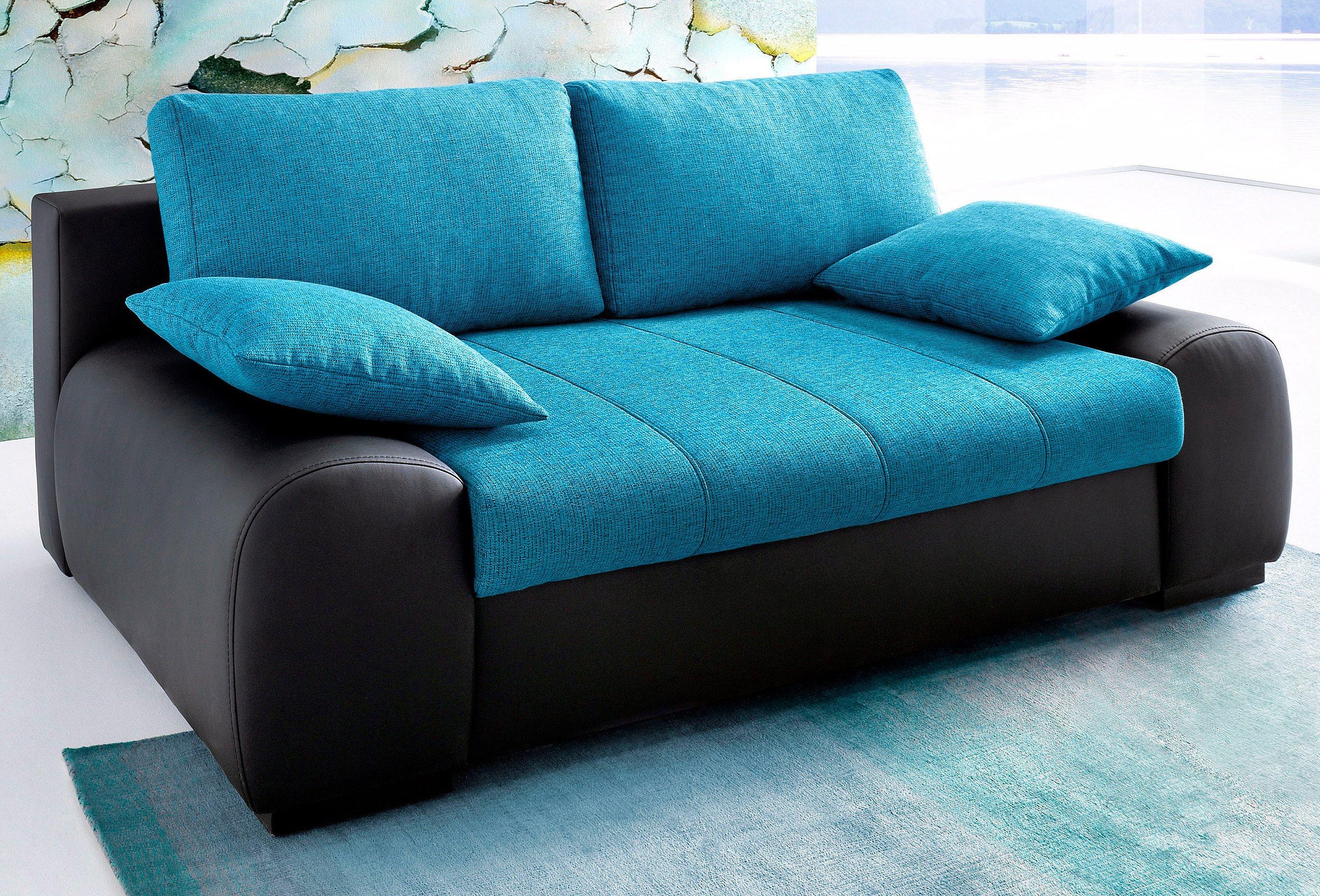Schlafsofa mit boxspringunterfederung schwarz online for Jugendzimmer couch