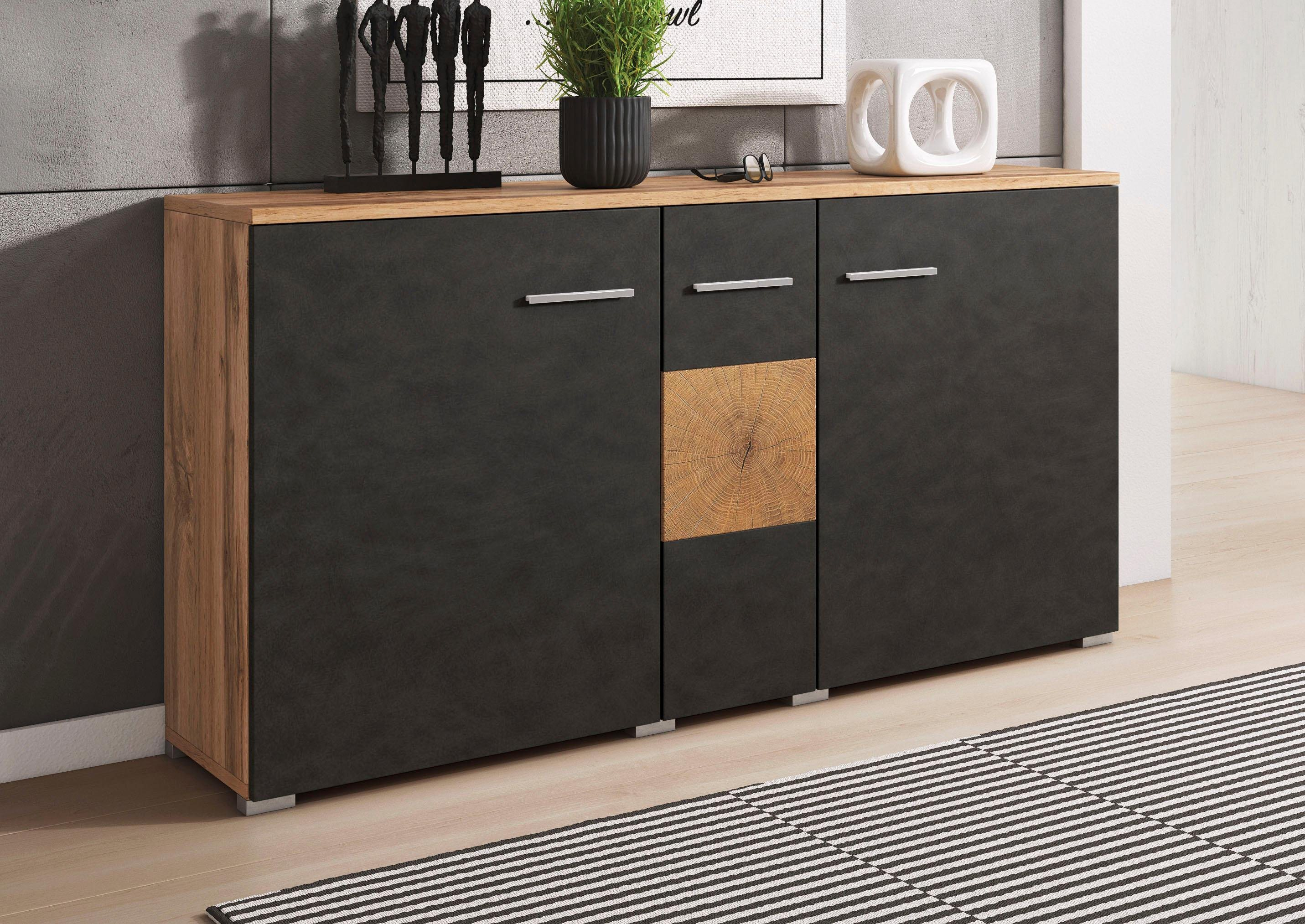 sideboard wobona breite 135 cm grau online kaufen bei woonio. Black Bedroom Furniture Sets. Home Design Ideas