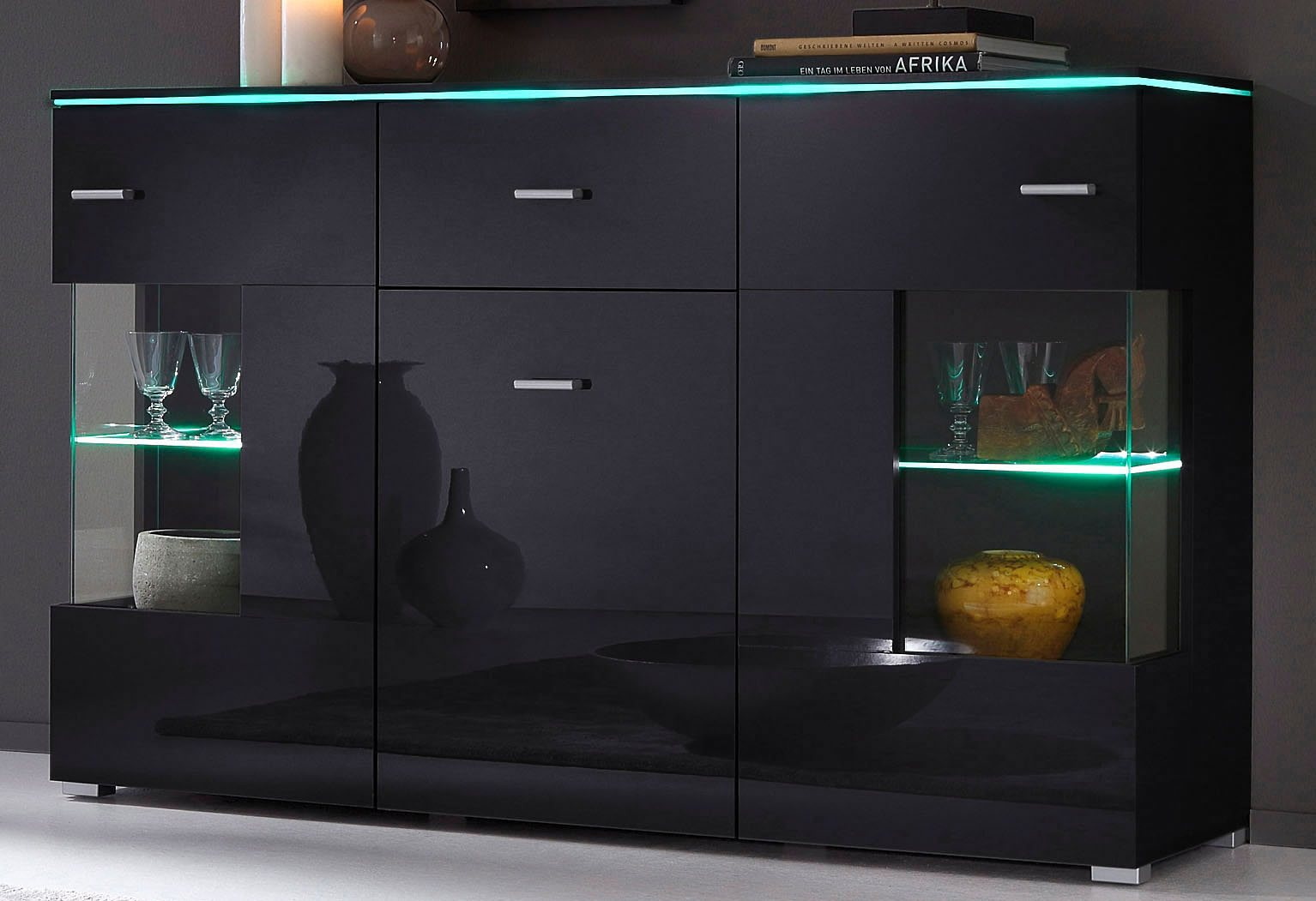 sideboard breite 150 cm schwarz online kaufen bei woonio. Black Bedroom Furniture Sets. Home Design Ideas