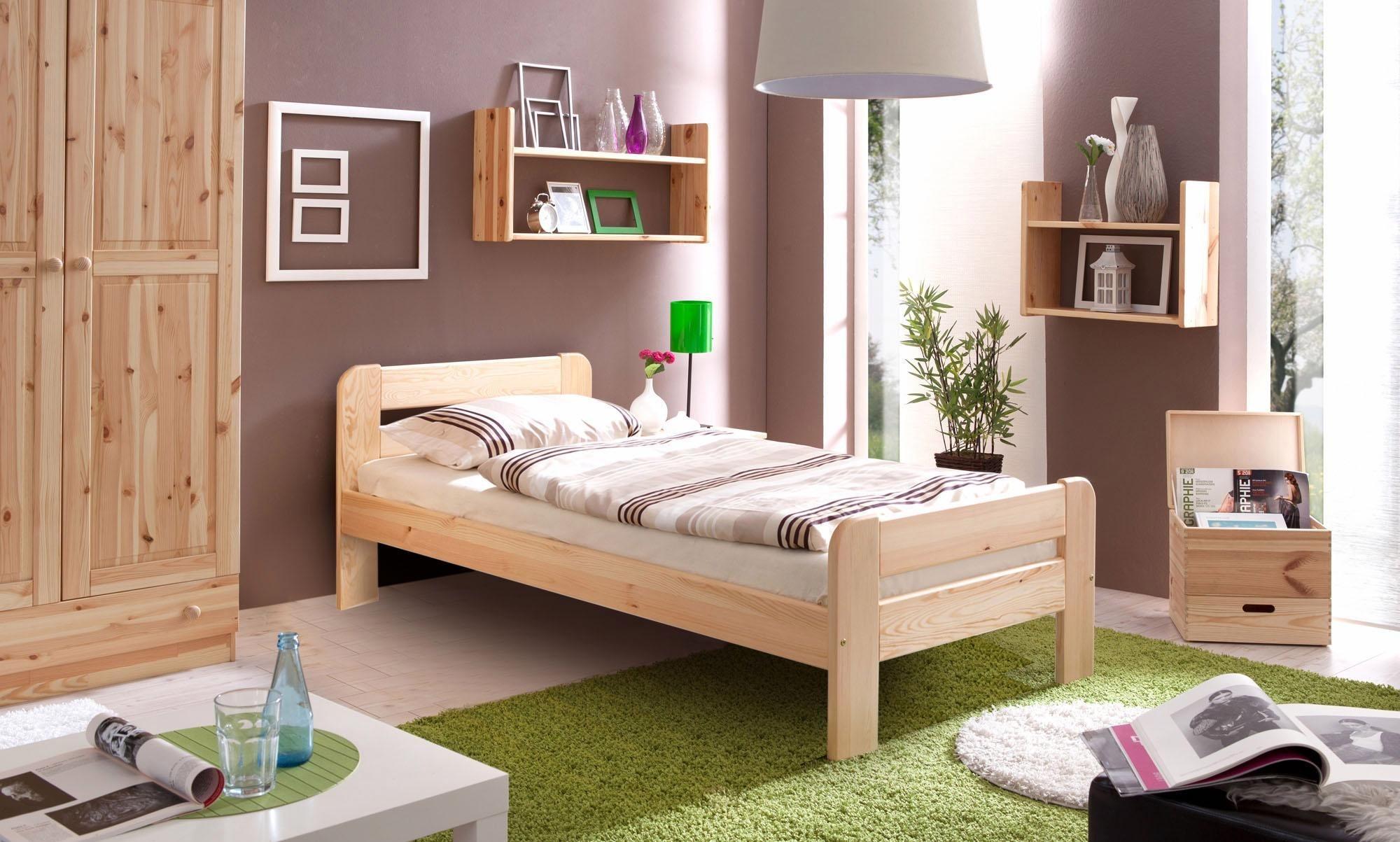 ticaa bett bert in 3 breiten kiefer natur liegefl che 100x200 cm online kaufen bei woonio. Black Bedroom Furniture Sets. Home Design Ideas
