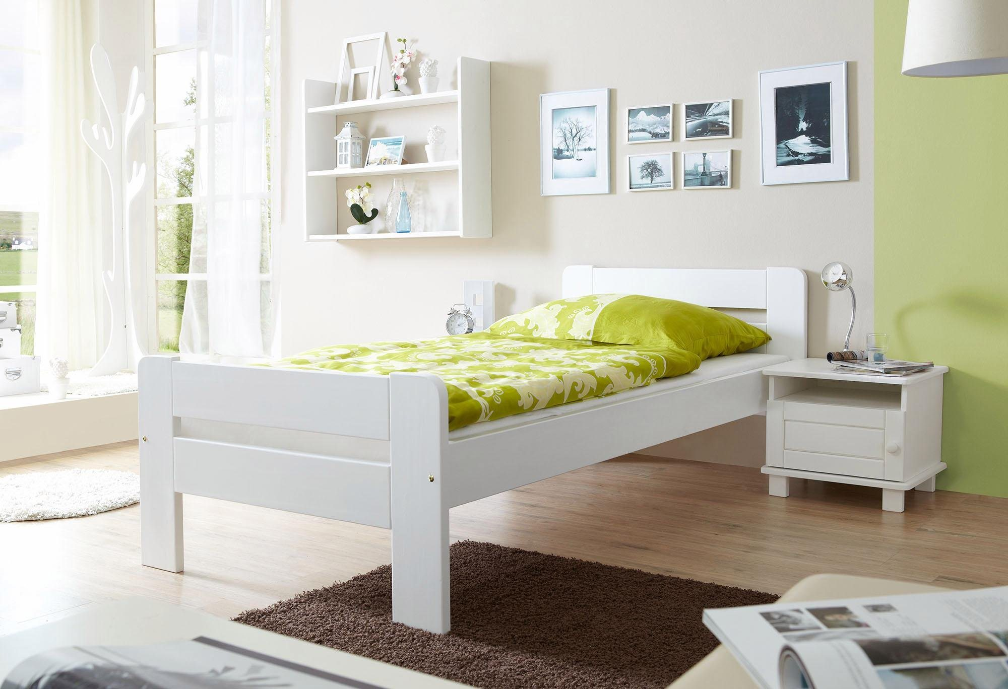 Ticaa Bett »Bert« In 3 Breiten, Kiefer Weiß Liegefläche