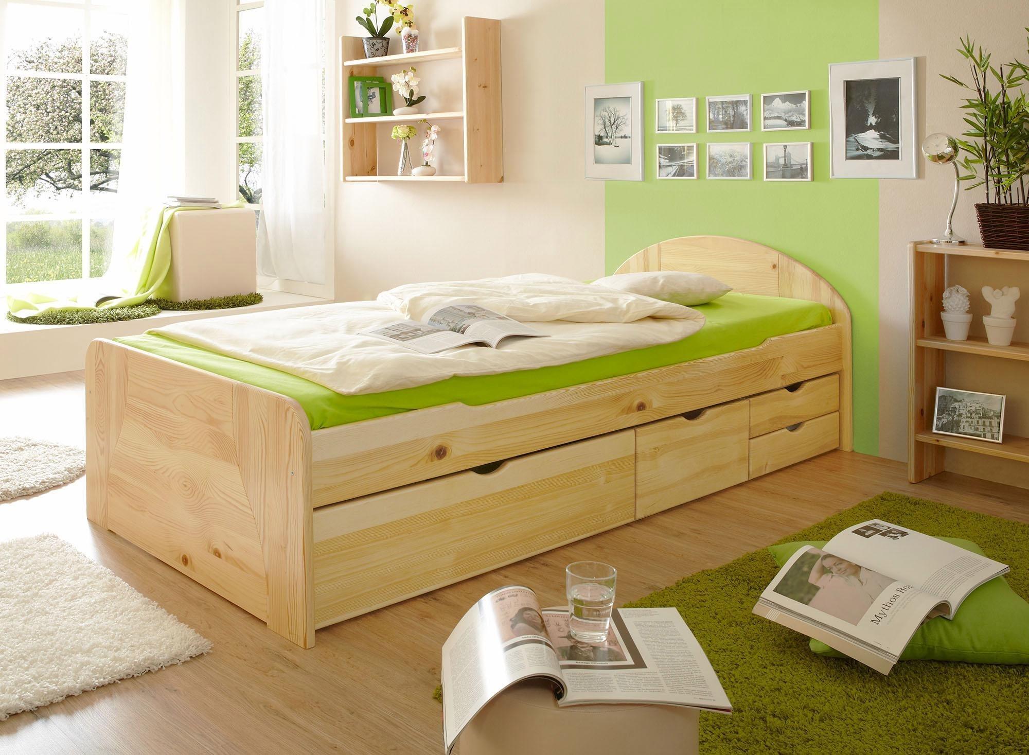 ticaa bett erna in 3 breiten mit bettschubk sten kiefer natur liegefl che 100x200 cm online. Black Bedroom Furniture Sets. Home Design Ideas