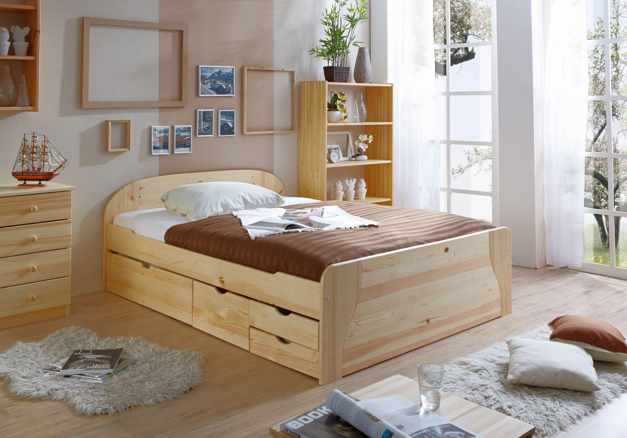 ticaa bett erna in 3 breiten mit bettschubk sten kiefer natur liegefl che 140x200 cm online. Black Bedroom Furniture Sets. Home Design Ideas